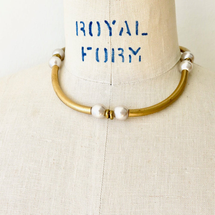 Renewal Collar from MoonRox Jewellery & Accessories - vintage pale grey glass pearls with tubular brass pieces.