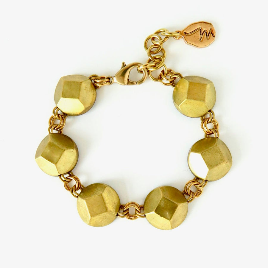 Reverie Bracelet by MoonRox Jewellery & Accessories - This elegant bracelet features faceted brass jewel shapes.
