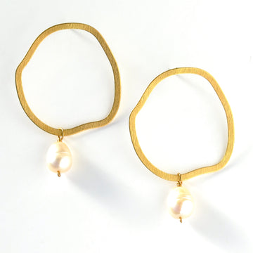 Revival Stud Earrings by MoonRox Jewellery & Accessories feature lustrous freshwater pearls hand wired below large organic brass forms.