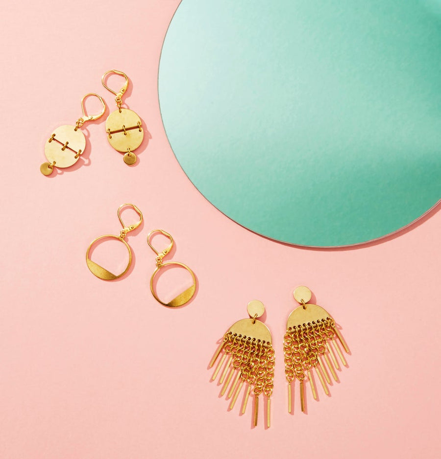 Horizon Earrings by MoonRox Jewellery & Accessories pictured with Rise Up Earrings and Flourish Earrings and a trio of geometric and trendy brass earrings