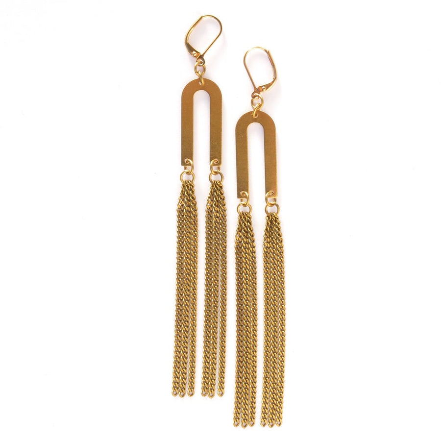 Rising Earrings by MoonRox are long shoulder dusters with a curved U shaped brass charm with long chain fringe.