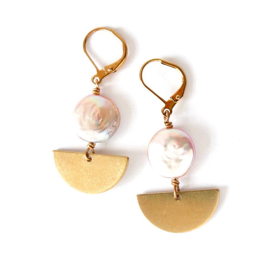 Sail Away With Me Earrings by MoonRox Jewellery & Accessories are dangly earrings with coin shaped freshwater pearls combined with graphic brass semi-circles.