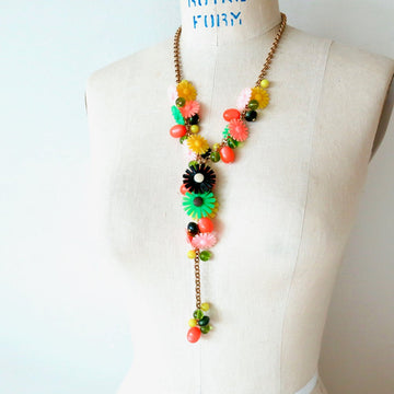 Sicilian Bouquet Necklace by MoonRox is a Y-style chain lariat with vintage flowers and lucite beads.