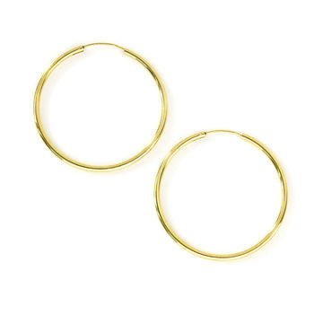 40mm Simple Hoop Earrings are classic gold plated sterling silver earrings.