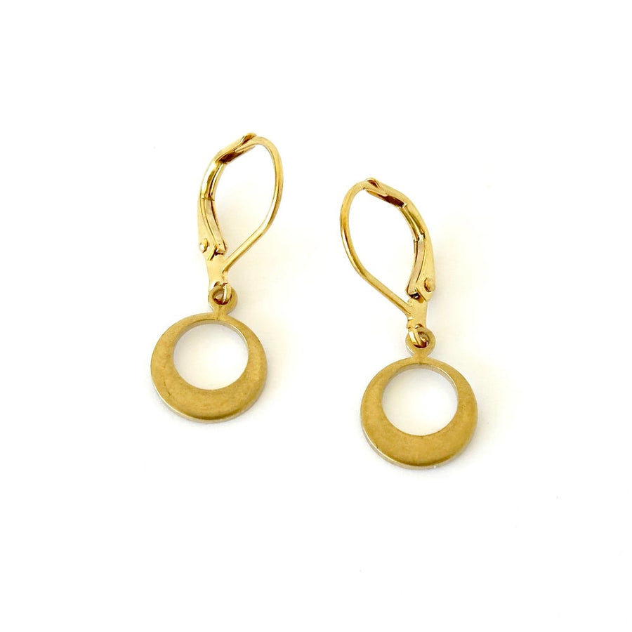 Sonic Earrings by MoonRox Simple are petite brass charm earrings with a circular shape.