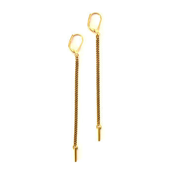 Splendere Earrings by MoonRox are long dangly chain earring made of brass.