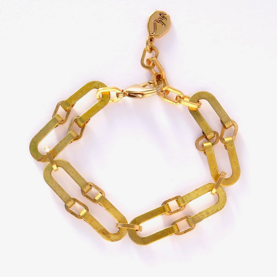 Splendour Bracelet is made from linked curvilinear vintage brass forms. Bracelet closes with easy to handle lobster clasp and can be adjusted to your size.