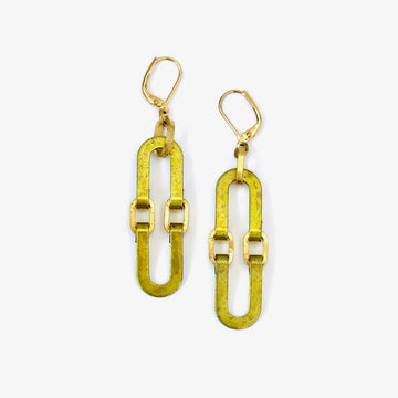 Splendour Earrings by MoonRox are made with linked curvilinear brass components that form an elliptical shape.