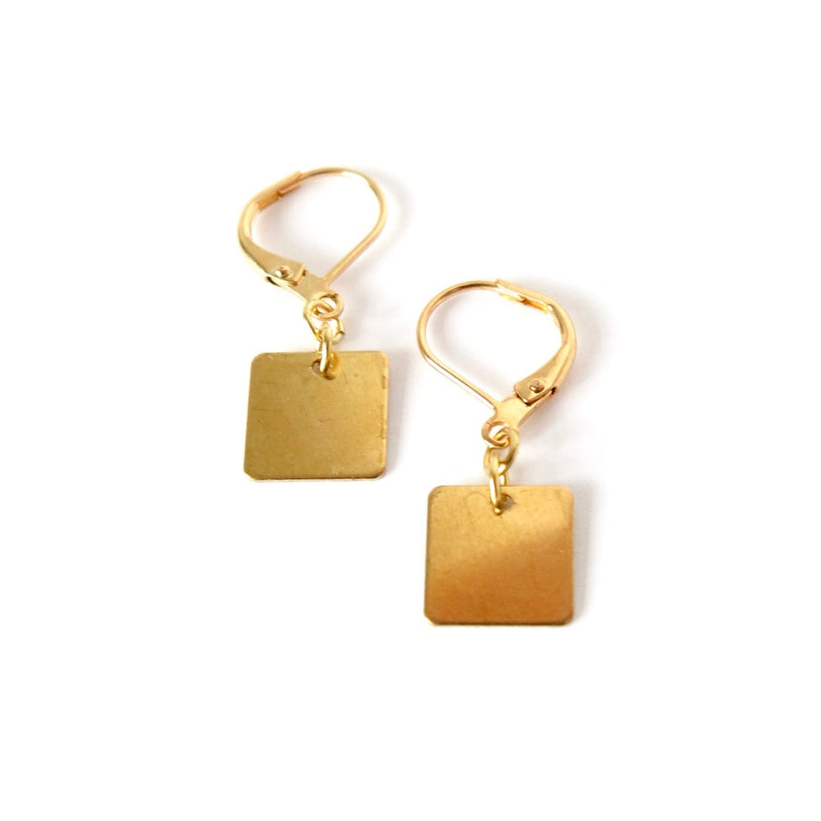 Squared Up Earrings - simple squared brass charms hung below lever back ear wires