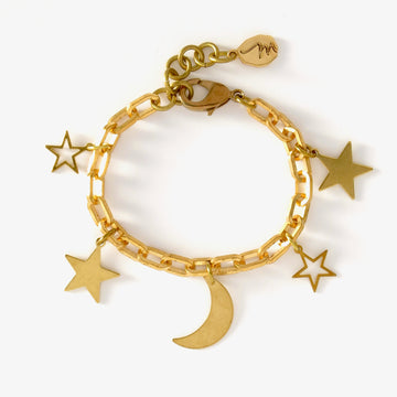 Starry Night Bracelet is a charm bracelet with a crescent moon and 4 stars.