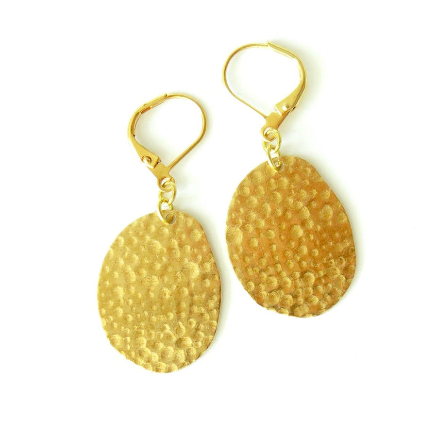 Stellar Earrings by MoonRox Jewellery & Accessories feature irregular brass forms with mottled texture