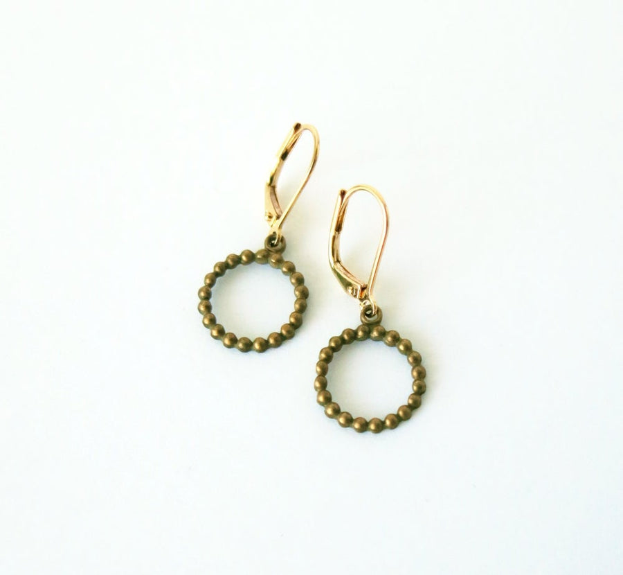 Stippled Loop Earrings by MoonRox - dotted circular charms with lever back ear wires.
