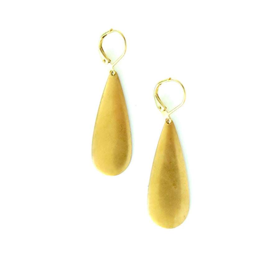 MoonRox Surge Earrings are large drop shaped brass charm dangly earrings with lever back ear wires.