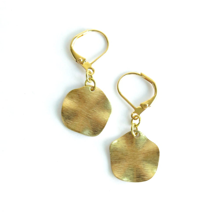 Swell Earrings by MoonRox Jewellery & Accessories have a hatched texture and waved edges.