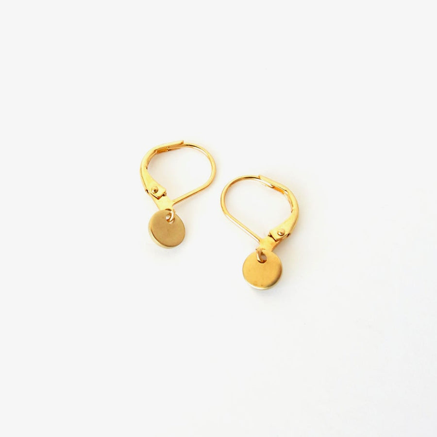 Teeny Disc Earrings by MoonRox  - Little brass discs on lever back ear wires.