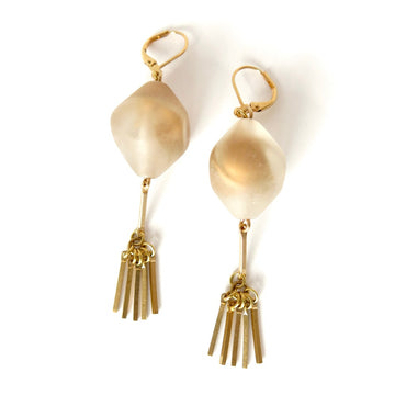 Tempest Earrings by MoonRox Jewellery & Accessories - Frosted vintage beads with a warm golden swirl inside are hand wired to brass fringe details.