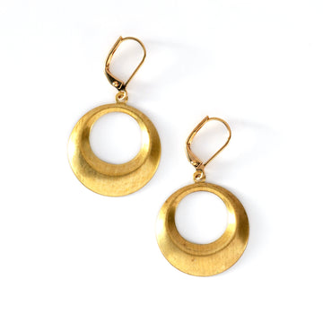 Timeless Earrings are versatile circular brass charm earrings.