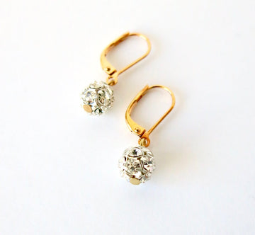 Twinkle Earrings by MoonRox are dangly earrings with pretty crystal rhinestone balls.