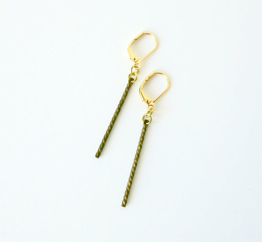 MoonRox Twist Earrings - A thin brass rod with twisted pattern on lever back ear wires.
