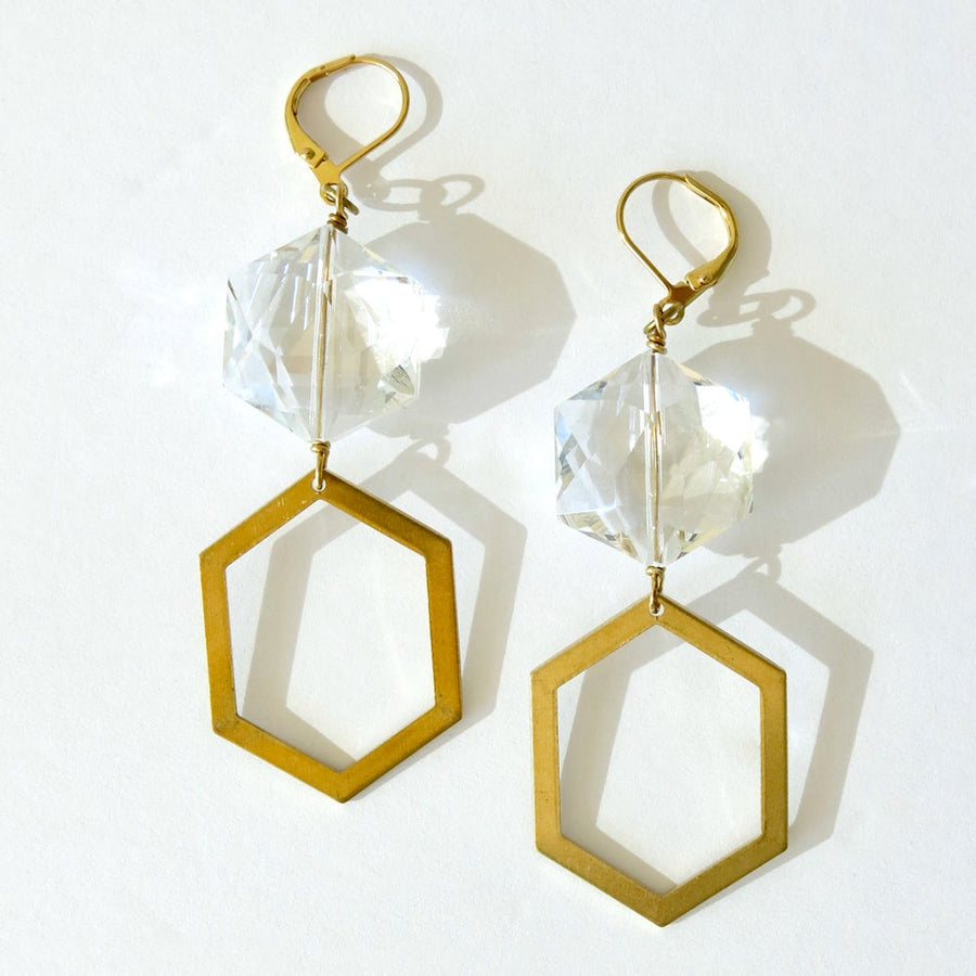 Under the Moonlight Earrings with a combination of shiny crystal and brass polygons.
