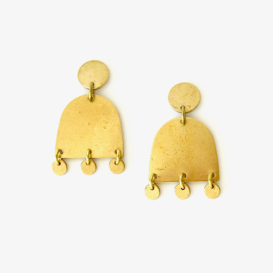 Venus Stud Earrings by MoonRox Jewellery & Accessories are made with curved brass forms with little brass discs shimmering at the base.