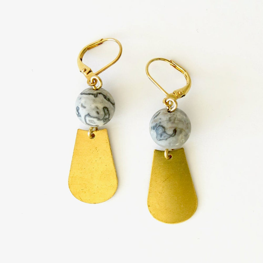 Veritas Earrings feature map agate stones that are hand wired to brass charms. Made in Toronto, Canada by MoonRox Jewellery & Accessories.