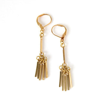 MoonRox Victory Earrings are constructed with brass rods forming a fringed cluster.