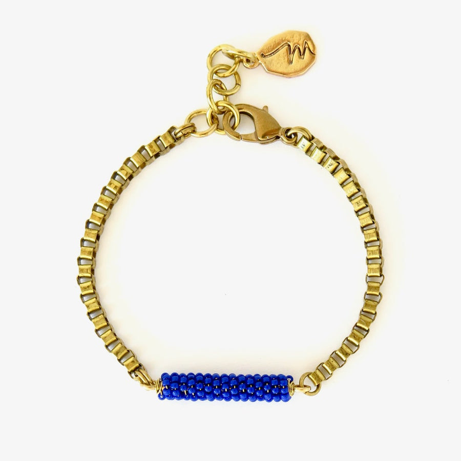 MoonRox Wonder Bracelet with hand beaded centre piece with brass box chain. Shown in cobalt blue.