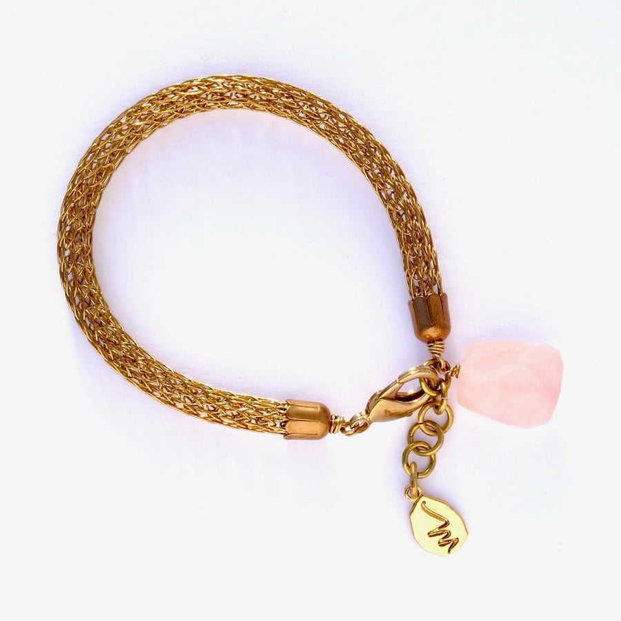 Zenith Bracelet by MoonRox Jewellery & Accessories - Elegant mesh bracelet made in knitted brass wire with large rose quartz stone charm.
