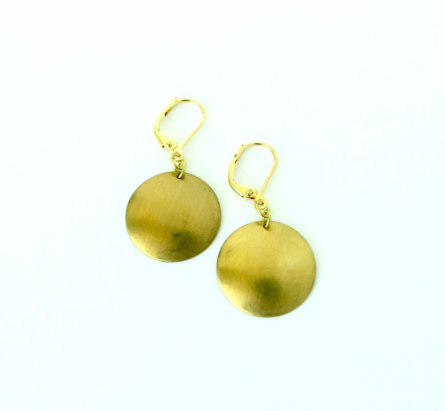 Disc Earrings by MoonRox Jewellery & Accessories - simple round convex brass dangly earring