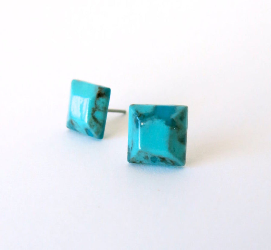 Faceted Turquoise Stud Earrings by MoonRox Jewellery & Accessories