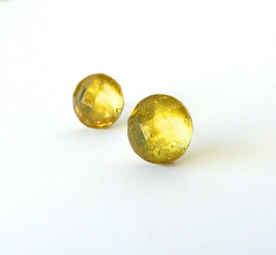 Golden Stud Earrings by MoonRox - Studs with round faceted cabochons with a golden glow.