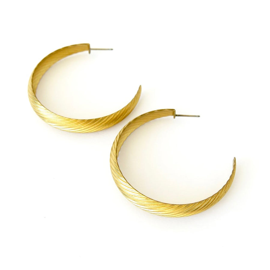 Hatched Hoops curated by MoonRox Jewellery & Accessories - brass hoop studs with hatched texture.