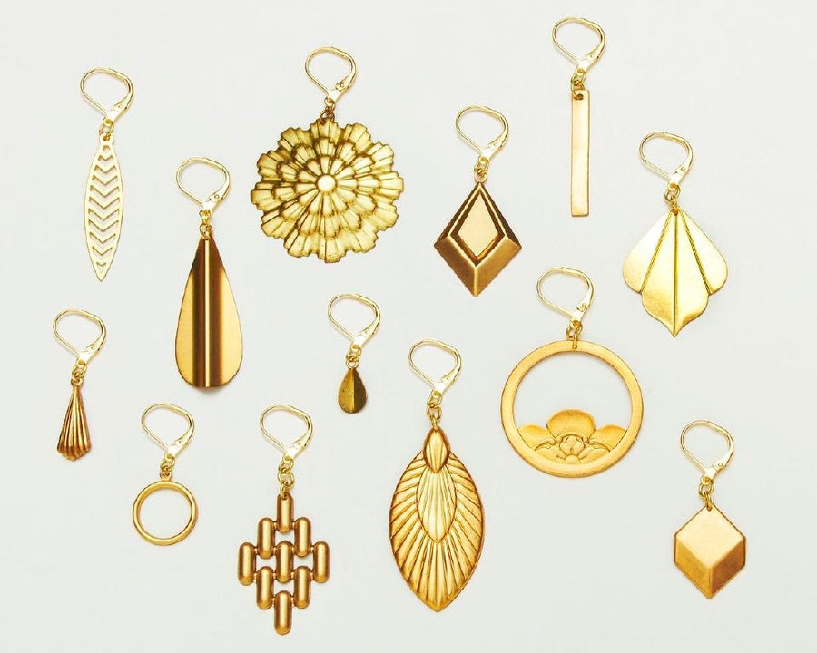 Choose from brass earrings in all sorts of shapes and sizes.