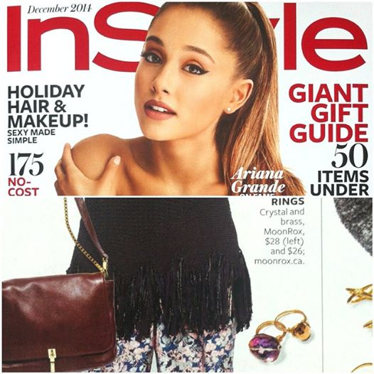 MoonRox Crystal Bauble Ring and Oval Crystal Bauble Ring as seem in InStyle Magazine. Ariana Grande was featured on the cover.