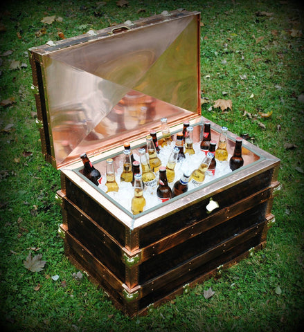 Steamer Trunk Style Cooler made from Reclaimed Wood/Copper/Brass