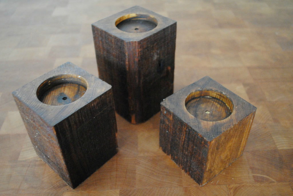Set of 3 Reclaimed Wood Candle Holders, Handmade - Set Of 3 Reclaimed Wood Candle Holders, Handmade €� Reclaimed State