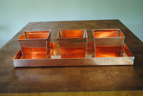 Copper Trio Planter Set with Tray