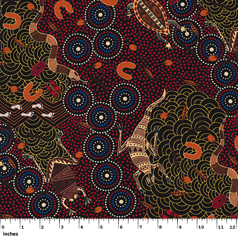 Australian Aboriginal quilting cotton, Around Waterhole Red, Nambooka, Indigenous, M and S