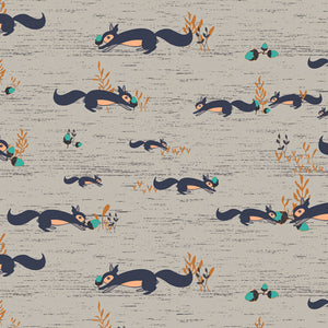 "Art Gallery Fabric Little Forester Fusion, Squirrels at Play, Forester - SCALE: photo = 8"" square -  100% cotton quilting fabric"