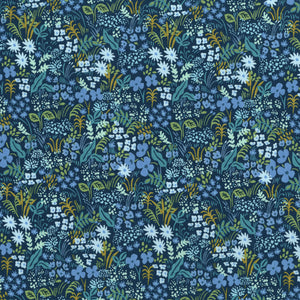 "Rifle Paper Co., English Garden, Meadow, Blue, .25 to .5"" flowers, Cotton and Steel - 100% cotton quilting fabric"