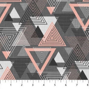 Cosmo, Reflection, Large Triangle, Charcoal Pink, Northcott, FIGO - 100% cotton quilting fabric