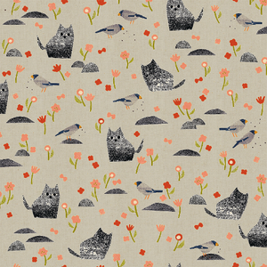 "Cotton and Steel, Neko and Tori, Nombiri, 1.5"" cats, Gray Grey Unbleached Cotton Fabric - 100% cotton quilting fabric"
