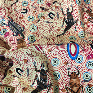 Australian Aboriginal quilting cotton, Around Waterhole Ecru, Janet Long Nakamarra, bush, indigenous, M and S