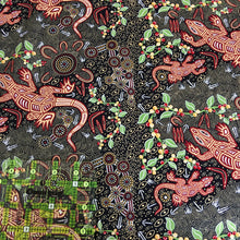 Load image into Gallery viewer, Australian Aboriginal quilting cotton, Man and Goanna, Black, Gary Reid, bush, indigenous, M and S