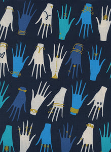 "Cotton and Steel, Beauty Shop, Manicure, 2.5"" long hands, Navy Metallic Fabric - 100% cotton quilting fabric"
