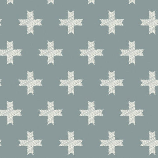 "Art Gallery Fabric, Heartland, Unn Cross Silver by Pat Bravo, 8"" square pic - 100% cotton quilting fabric"