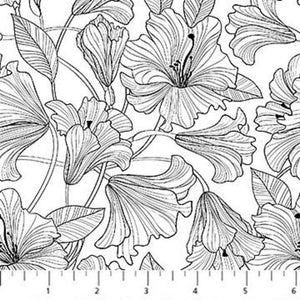 Simply Neutral 2, Hibiscus Toss, Black and White - 100% cotton quilting fabric, Northcott