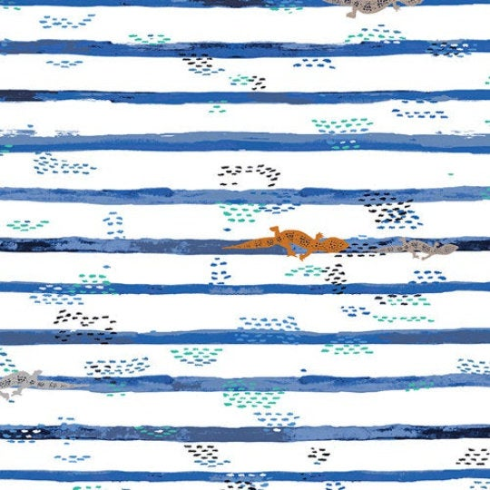 "Art Gallery Fabric, Mediterraneo, Gecko Trails, 8"" square pic - 100% cotton quilting fabric"