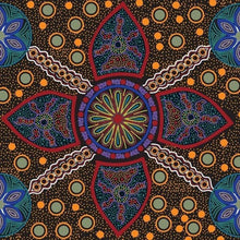 Load image into Gallery viewer, Australian Aboriginal quilting cotton, Stella, Black, M and S Textiles